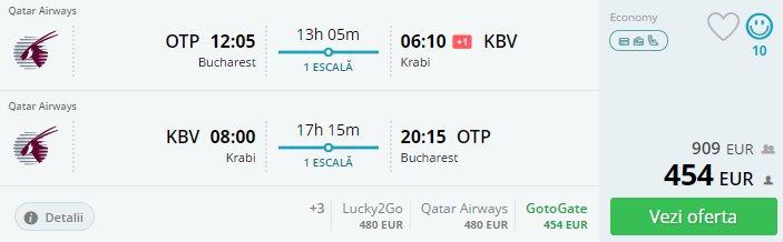 Vacanta in Krabi, 539 euro (zbor cu Qatar Airways si cazare 10 nopti)