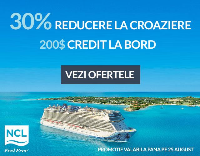 Descopera ofertele la croazierele Norwegian! 30% reducere + Credit la bordul vasului